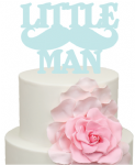 Little Man words with moustache Acrylic Cake Topper